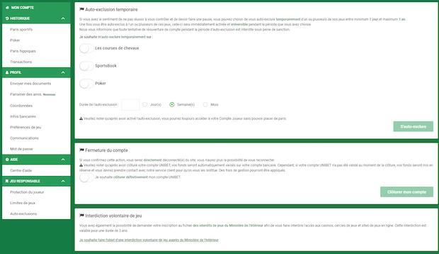 Paramètres de clôture de compte Unibet