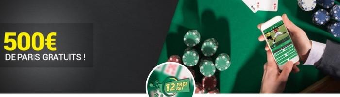 500€ mis en jeu le 23/11 pour le One Two Freebet d'Unibet