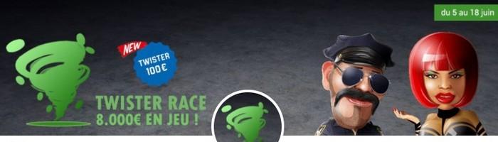 8.000€ en jeu la Twister Race du mois de juin 2017 sur Unibet Poker