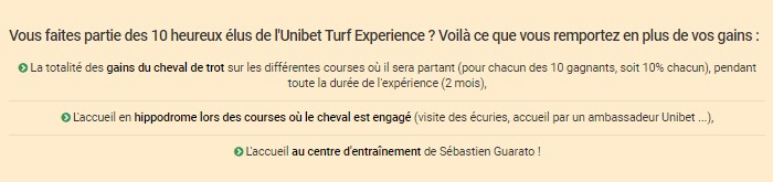 Unibet Turf Experience : les gains